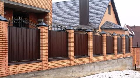 Кованый забор с профнастилом N-1