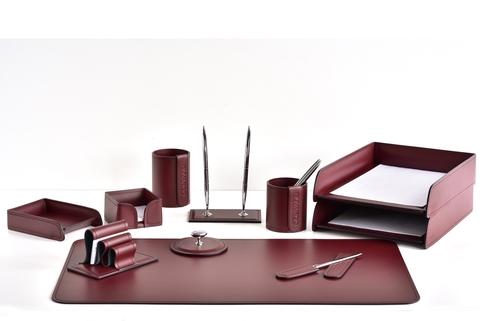 Настольный набор 11 предметов из кожи, цвет бордо