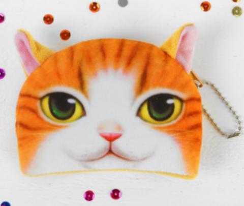 068-3127 Мягкий кошелёк «Рыжий котик», розовые ушки