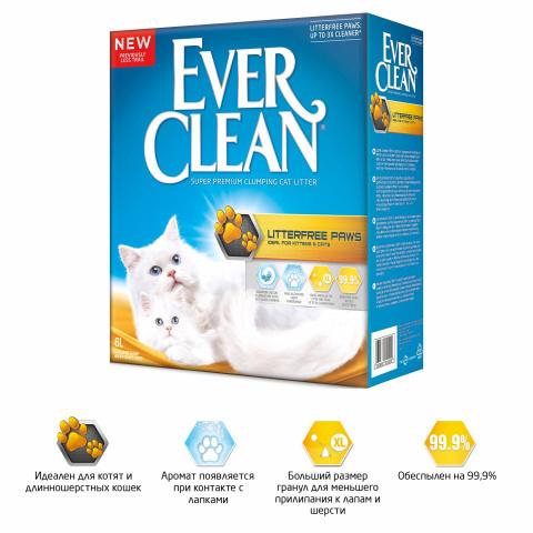 Ever Clean LitterFree Paws комкующийся наполнитель для чистых лап д/кошек (6 л)