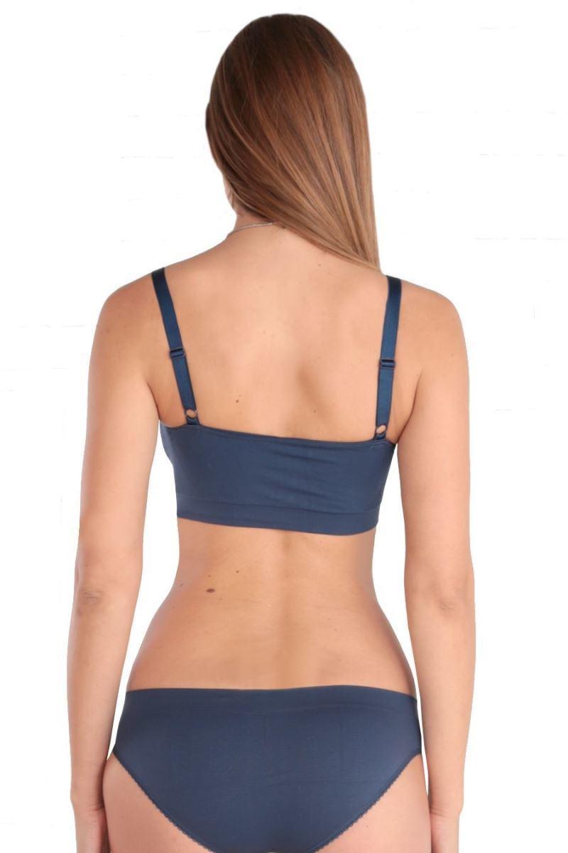 Фото топ EUROMAMA для беременных и кормящих, синий, с дополнительной поддержкой груди.