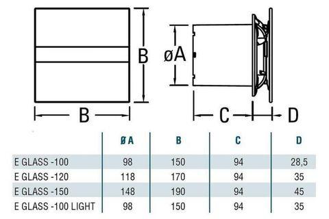 Накладной вентилятор Cata E 100 GTH (Влажность, таймер, термометр, дисплей)