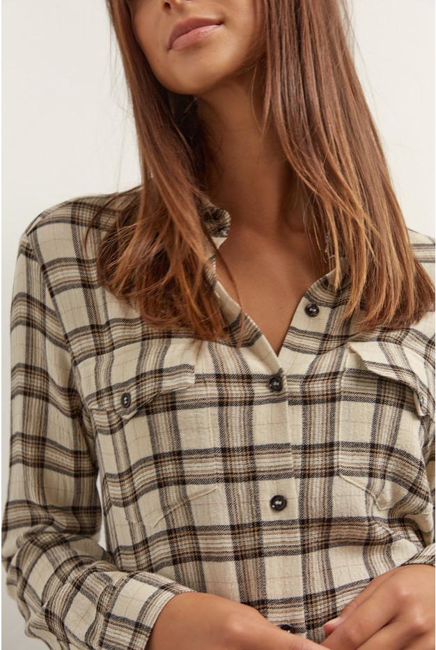 AMADEA - Свободная рубашка с клетчатым принтом