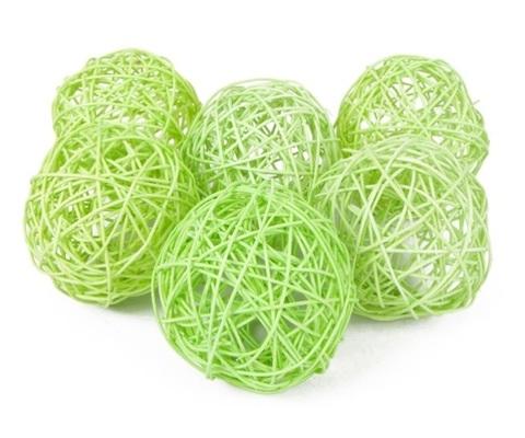 Плетеные шары из ротанга (набор:6 шт., d10см, цвет: салатовый)