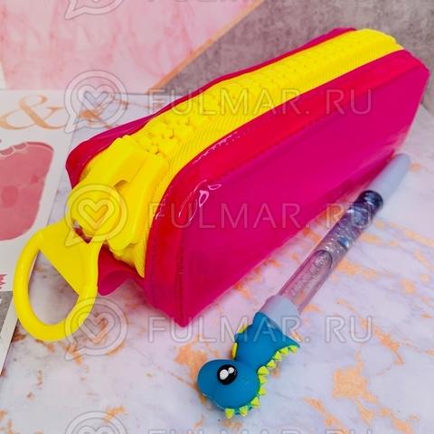 Неоновый прозрачный пенал на молнии-гигант Малиновый-Жёлтый школьный для девочки
