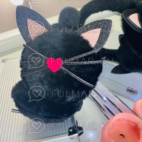 Ободок на уши Плюшевый с блёстками Киса-Любимка (цвет: Чёрный)