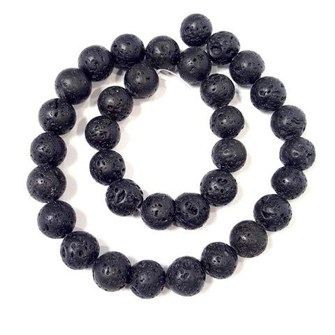 Бусины лава матовая шар 12 мм черная