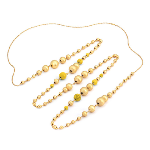 Золотые бусины с HUM (желтый)