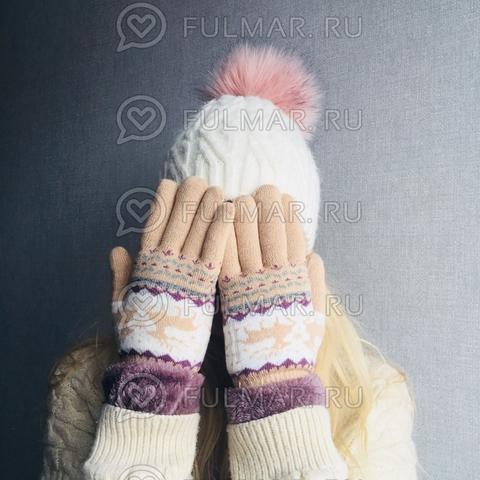 Перчатки с оленями шерстяные женские (Цвет: бежевый)