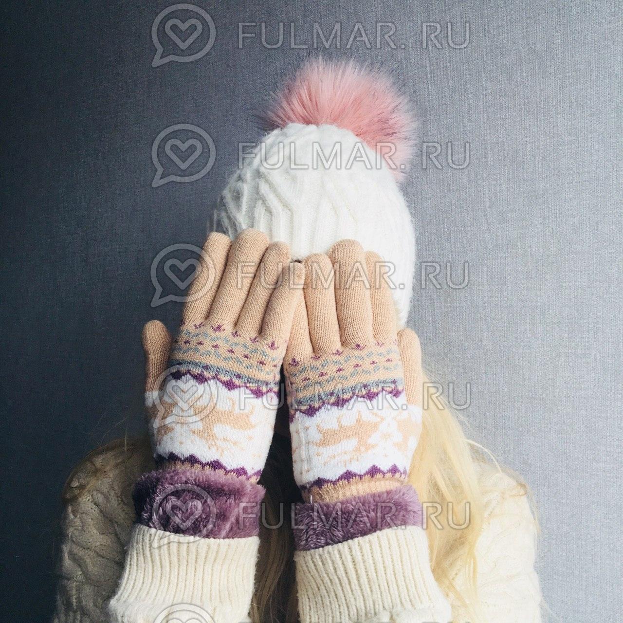 Перчатки с оленями шерстяные женские (Цвет: бежевый) фото