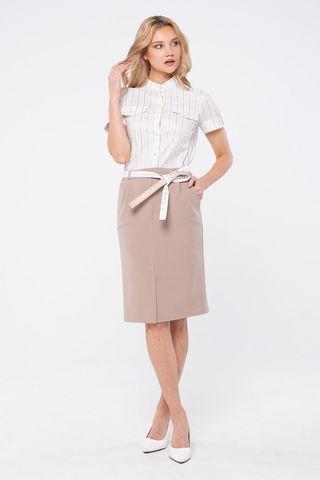Фото прямая белая блуза с воротником-стойкой и застежкой на маленькие пуговки - Блуза Г715а-347 (1)