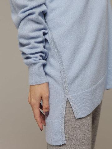 Женский голубой джемпер с V-образным вырезом из 100% кашемира - фото 2