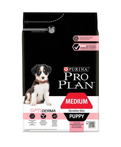 Pro Plan сухой корм для щенков средних пород с чувствительной кожей (лосось) 1,5 кг