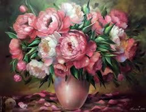 Алмазная Мозаика 40x50 Розовые и белые пионы в коричневой вазе