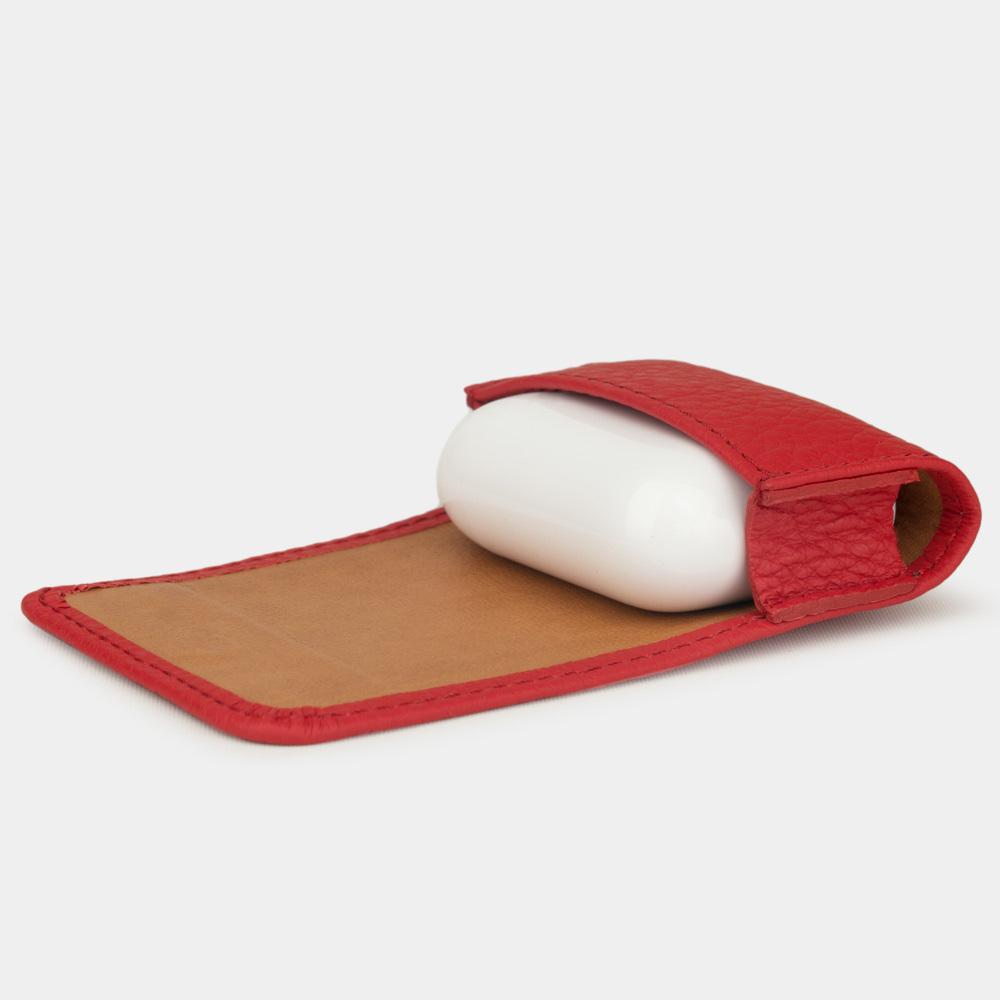 Чехол-держатель для наушников Grand Easy из натуральной кожи теленка, красного цвета