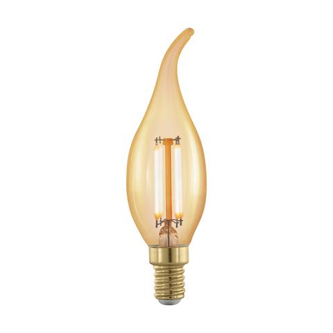 """Лампа  LED филаментная диммир. золотого цвета Eglo GOLDEN AGE LM-LED-E14 4W 320Lm 1700K CF35 """"Свеча на ветру"""" 11699"""