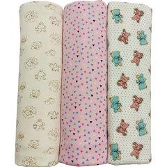 Папитто. Комплект трикотажных пеленок из футера для девочки 130х90 см, 3 шт. вид 2