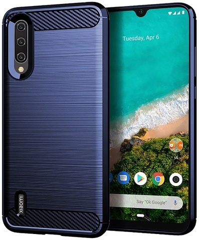 Чехол Xiaomi Mi A3 (CC9E) цвет Blue (синий), серия Carbon, Caseport