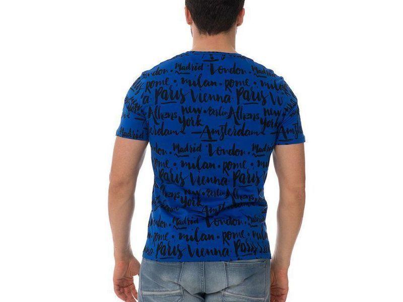 Футболка мужская синяя METROPOLE JOHN FRANK с принтом со словами
