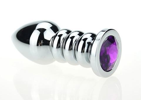 Пробка металл фигурная серебро с фиолетовым стразом 10,3х3,8см 47423-5MM