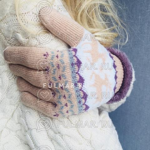 Перчатки с оленями шерстяные (Цвет: бежевый)