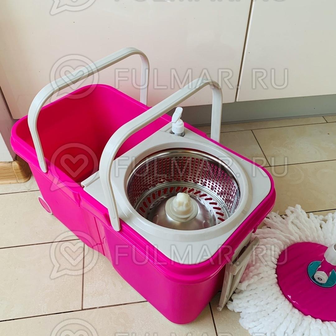 Складное ведро с отжимом на колёсах Spin Mop Stackable Wheels (комплект для мытья пола на колёсах) Розовое фото