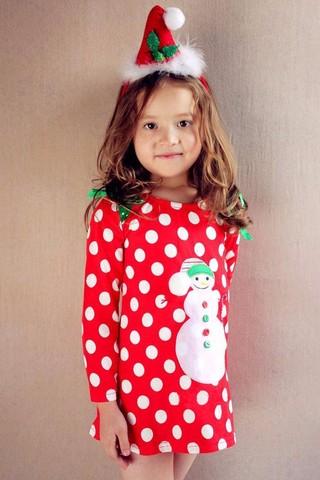 Платье новогоднее детское Снеговик
