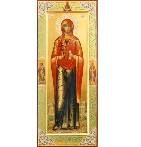 Икона святая Аглаида на дереве на левкасе со святыми Владимиром и Еленой