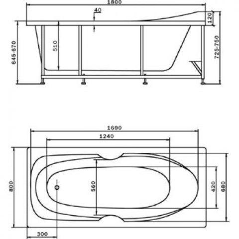 Ванна акриловая Aquatek Европа 180х80см. на каркасе с сливом-переливом. схема