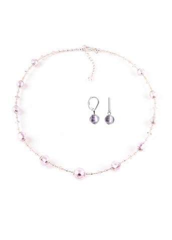 Серьги и ожерелье Примавера серебристо-розовые