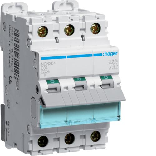 Автоматический выключатель 3Р, C-4A, 10kA