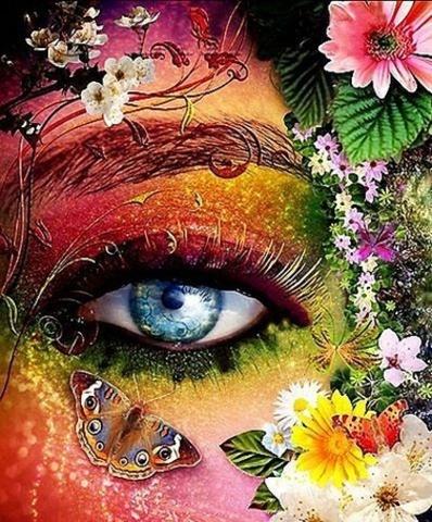 Алмазная Мозаика 40x50 Разноцветный глаз девушки