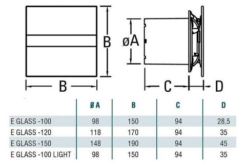 Накладной вентилятор Cata E 120 GTH (Влажность, таймер, термометр, дисплей)