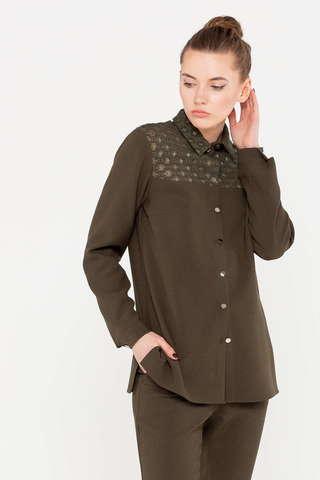 Фото коричневая блузка с декоративной вставкой на кокетке - Блуза Г680-528 (1)