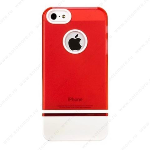 Накладка MOBILE 7 для iPhone SE/ 5s/ 5C/ 5 ярко-розовый верх белый низ