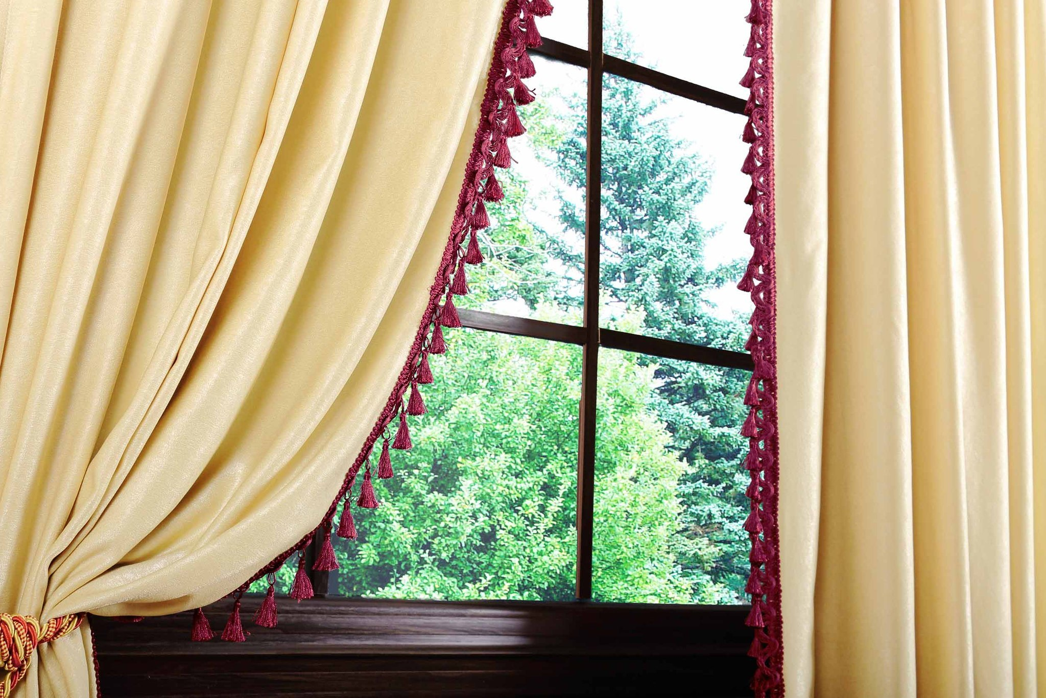 Длинные шторы. Мишель с бахромой (золото)