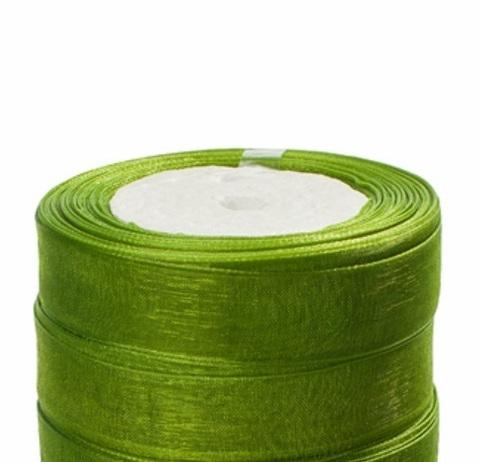 Лента органза (размер:15мм х 25 ярдов) Цвет: зелёный
