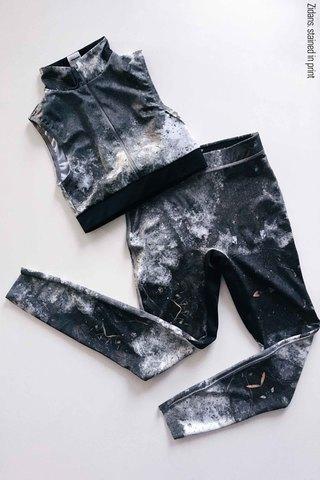 Set: Zip top + Ziphirus leggings, stained in print