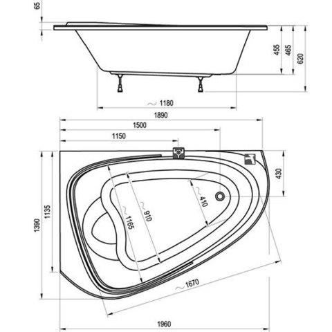 Ванна акриловаяRavak Love Story II (левая) 196x114 C751000000 схема