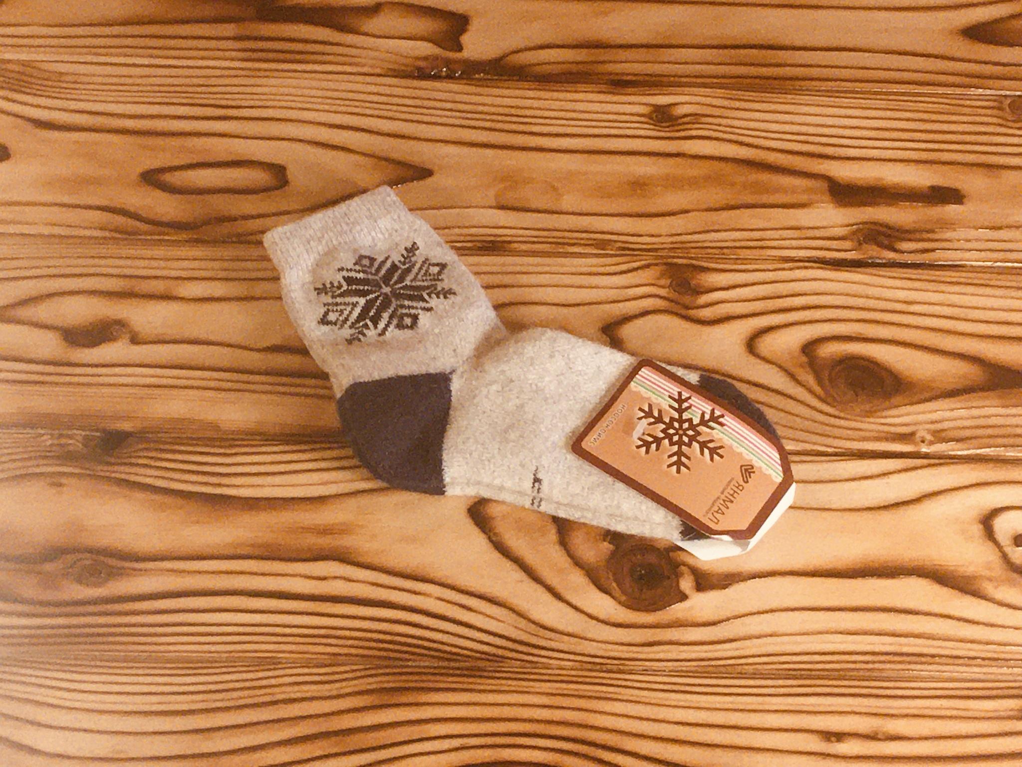 Носки детские из шерсти яка (серые с звездой) р.4 фото1
