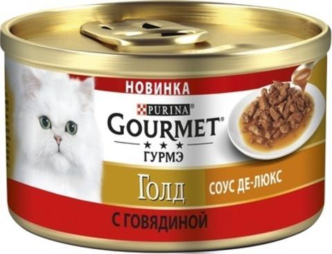 Gourmet Gold пауч для кошек желе делюкс говядина 75 г