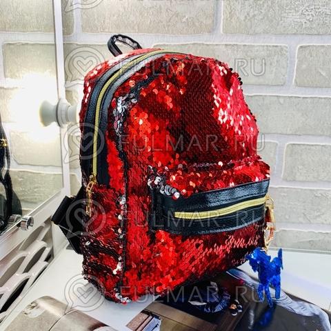 Рюкзак в двусторонних пайетках меняет цвет Клубничный-Зеркальный с брелком Единорогом (26x20x10 см) Классика