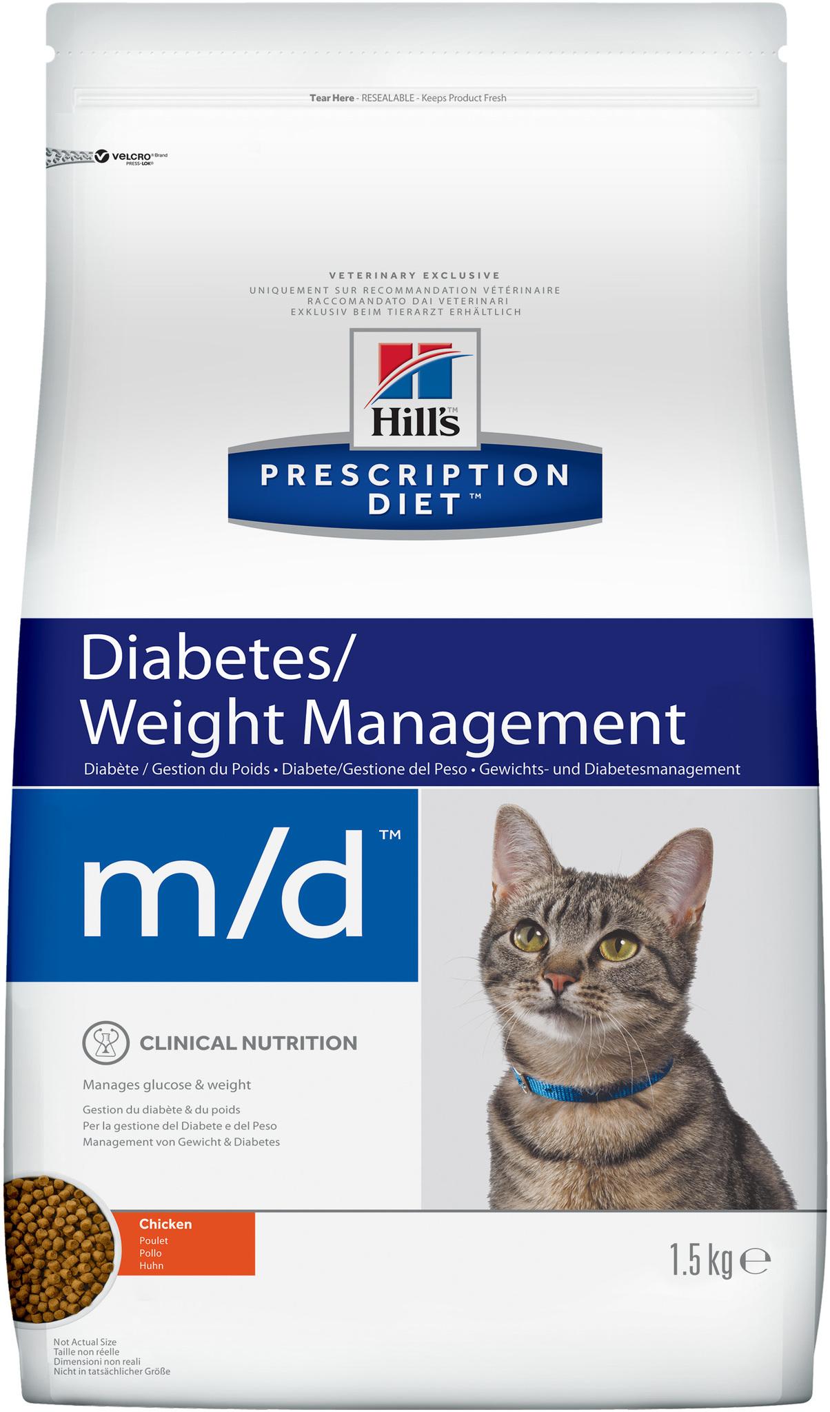 Сухой корм Ветеринарный корм для кошек Hill`s Prescription Diet m/d, при диабете/лишнем весе, с курицей 8685U.jpg