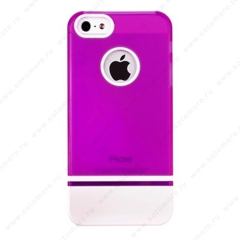 Накладка MOBILE 7 для iPhone SE/ 5s/ 5C/ 5 фиолетовый верх белый низ