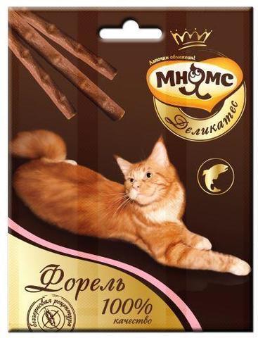 Мнямс Деликатес лакомые палочки для кошек с форелью