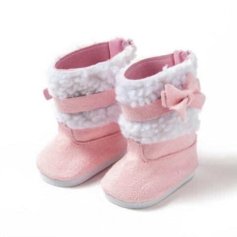 Взуття для ляльки. Черевики з декоративними вставками - рожеві