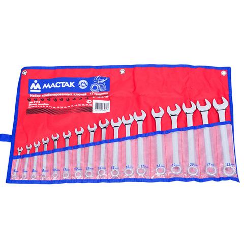 Набор комбинированных ключей, 6-22 мм, 17 предметов МАСТАК 0211-17P