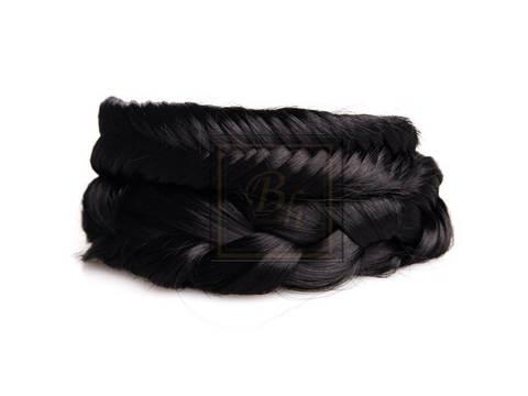 Накладная коса из натуральных волос оттенок  черный