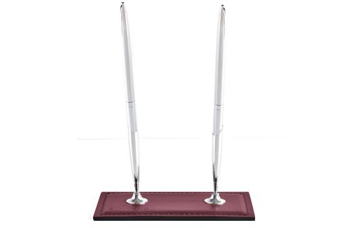 Подставка для двух ручек из кожи цвет БОРДО