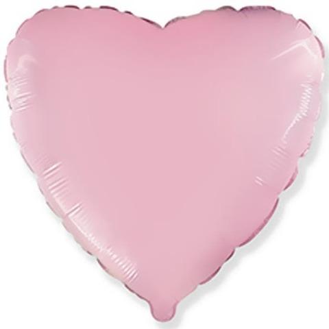 Воздушный шар сердце большое, Нежный розовый, 81 см